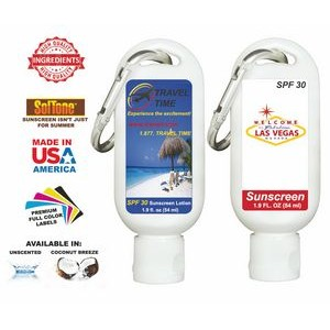 1.9 Oz. Full Color Unscented Body Lotion Tottle & Carabiner